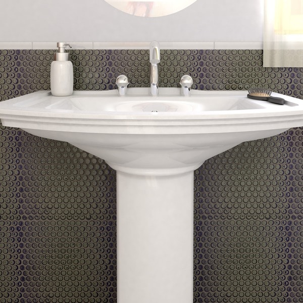SomerTile 12.25x12-in Penny 3/4-in Black Porcelain Mosaic Tile (Pack of 10)