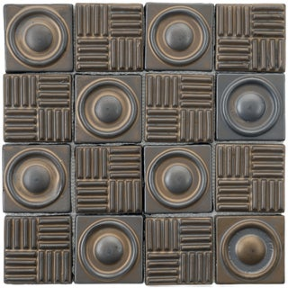 SomerTile 12x12-in Industrial Bronze 3-in Ceramic Mosaic Tile (Pack of 5)