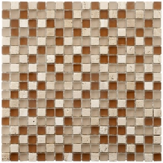 SomerTile 12x12-in Reflections Mini 5/8-in Breno Glass/Stone Mosaic Tile (Pack of 11)