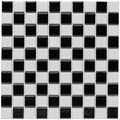 SomerTile 12x12-in Checker 1-in Black and White Porcelain Mosaic Tile (Pack of 10)