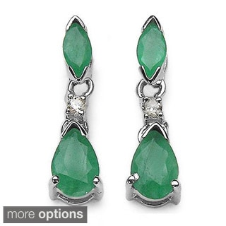 Malaika 14k White Gold Gemstone and Diamond Earrings