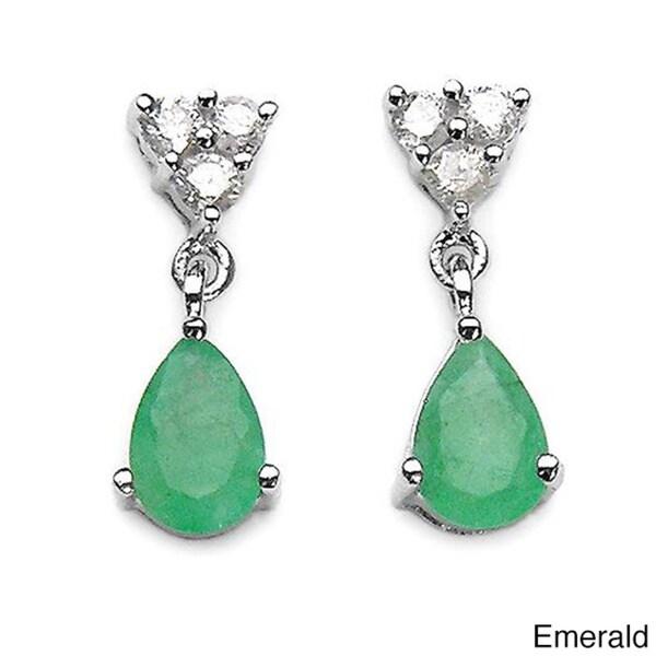 Malaika 10k White Gold Gemstone and 1/8ct TDW Diamond Teardrop Earrings