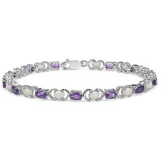 Malaika Sterling Silver Gemstone and Opal Bracelet