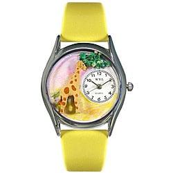 Whimsical Women's Giraffe Theme Yellow Leather Strap Watch