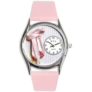 Whimsical Women's Ballet Shoes Theme Pink Leather Strap Watch