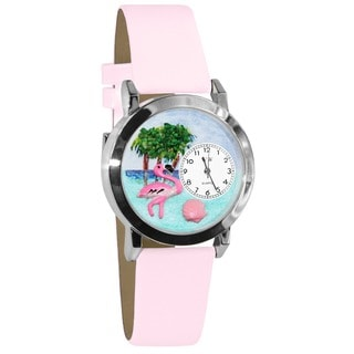 Whimsical Women's Flamingo Theme Pink Leather Strap Watch