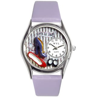 Whimsical Women's Shoe Shopper Theme Lavender Strap Watch