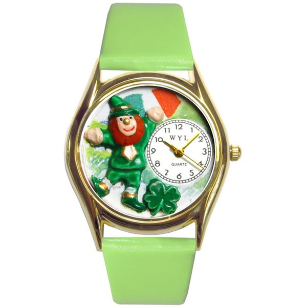 Whimsical Women's St. Patrick's Day Leprechaun Theme Green Leather Watch