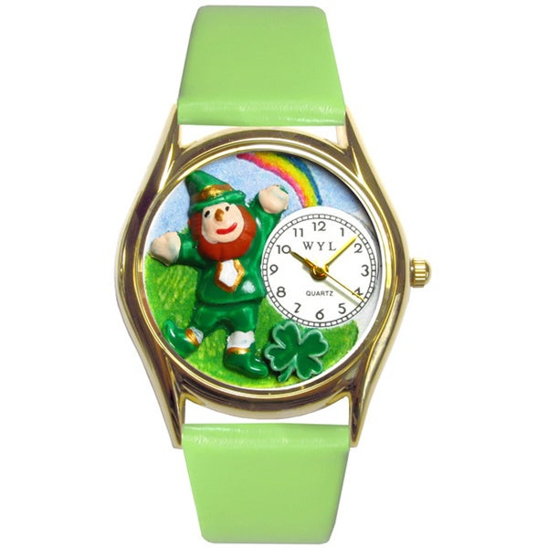 Whimsical Women's St. Patrick's Day Leprechaun Theme Watch with Green Leather Strap