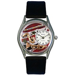Whimsical Women's Wind Instruments Theme Silvertone Case Watch
