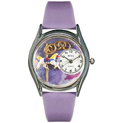 Whimsical Women's Carousel Theme Lavender Leather Strap Watch