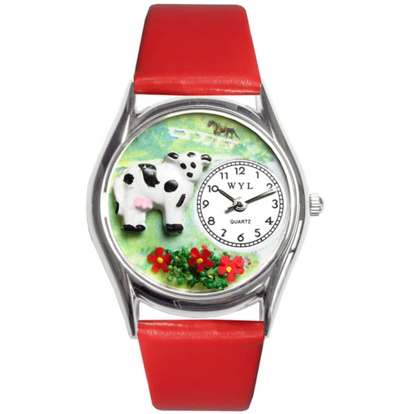 Whimsical Women's Cow Theme Silvertone Case Watch