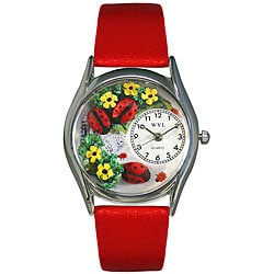 Whimsical Women's Ladybugs Theme Silvertone Case Watch