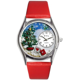 Whimsical Women's Christmas Tree Red Leather Strap Watch