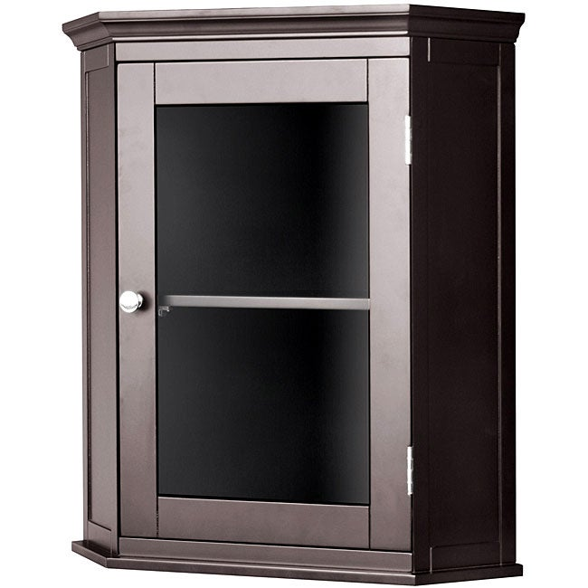 espresso corner bathroom storage wood glass door wall cabinet ebay