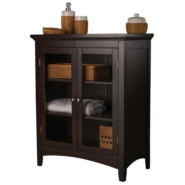 Espresso Double door Floor Cabinet Bathroom Modern