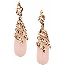 D'Yach 14k Rose Gold Pink Opal and 1ct TDW Diamond Earrings (G-H, IJ)