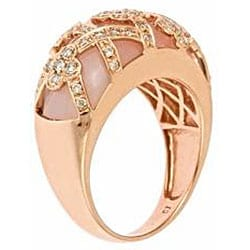 Anika and August 14k Rose Gold Pink Opal and 1/2ct TDW Diamond Ring (G-H, SI1-SI2)