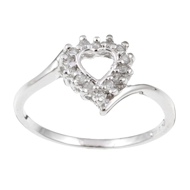 Sterling Essentials Rhodium Plated Silver Diamond Heart Ring .15ctw (H-I, I1)