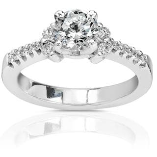 Annello 18k Gold 1ct TDW Round-cut Diamond Engagement Ring (IJ, I1-I2)