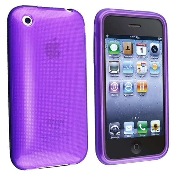 Eforcity Clear Purple TPU Rubber Skin Case Cover for Apple 3G iPhone