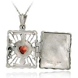 Glitzy Rocks Sterling Silver Garnet and Marcasite Rectangular Locket Necklace