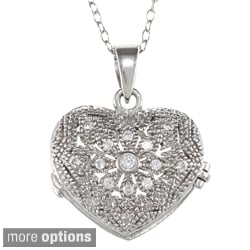 Icz Stonez Sterling Silver Cubic Zirconia Flower Heart Locket Necklace
