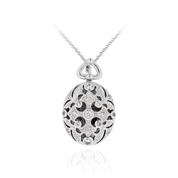 ICZ Stonez Sterling Silver Cubic Zirconia Filigree Cross Necklace