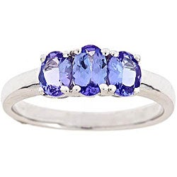 D'Yach Sterling Silver Tanzanite Trilogy Ring