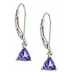 D'Yach Sterling Silver Trillion-cut Tanzanite Lever Earrings