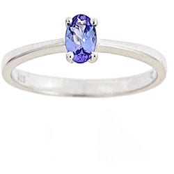 D'Yach Sterling Silver Oval-cut Tanzanite Ring