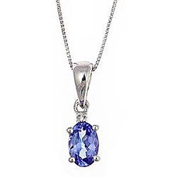 D'Yach Sterling Silver Tanzanite and Diamond Necklace