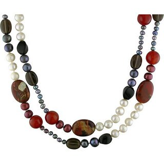Pearls Black and Red Jasper, Agate, Smokey Quartz and Pearl Necklace with Bonus Earrings