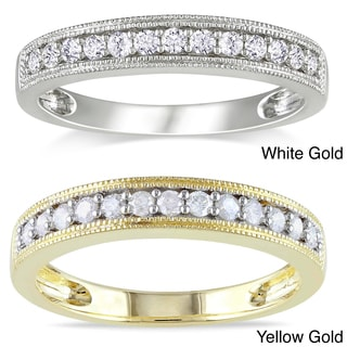 Miadora 10k Gold 1/4ct TDW Diamond Wedding Band (H-I, I2-I3) with Bonus Earrings