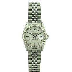 Pre-owned Rolex Datejust Men's White Gold Bezel Florentine Watch