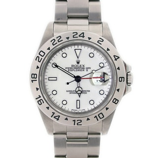 Pre-owned Rolex Explorer II Men's White Stainless Steel Watch