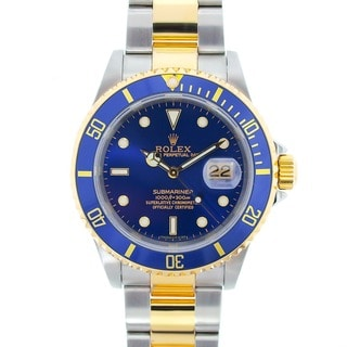 Pre-owned Rolex Submariner Men's Blue Two-tone Date Watch