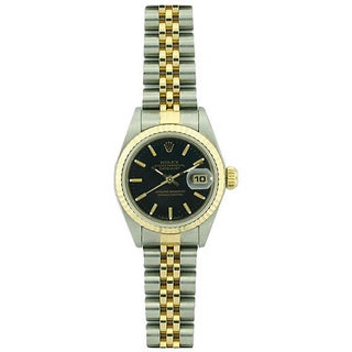 Pre-owned Rolex Datejust Women's Two-tone Black Dial Watch