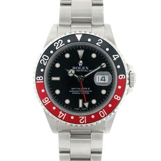 Pre-owned Rolex GMT Master II 16710 Red and Black Bezel Stainless Steel Watch