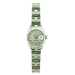 Pre-owned Rolex Datejust Women's White Gold Bezel Oyster Band Watch
