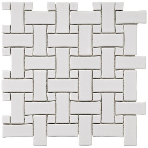 SomerTile 9.75x9.75-in Basket Weave 1x2.5-in White Porcelain Mosaic Tile (Pack of 10)