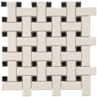 SomerTile 9.75x9.75-in Basket Weave 1x2.5-in Bone/Black Porcelain Mosaic Tile (Pack of 10)