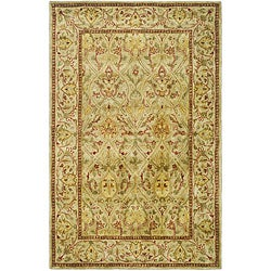 Handmade Mahal Light Brown/ Beige New Zealand Wool Rug (4' x 6')