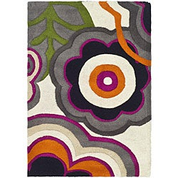 Handmade Soho Flower Power Ivory/ Multi N. Z. Wool Rug (2' x 3')