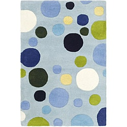Handmade Bubblegum Light Blue/ Multi N. Z. Wool Rug (2' x 3')