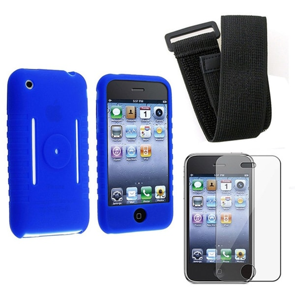 Eforcity Silicone Skin Case Screen Protector Armband for Apple iPhone