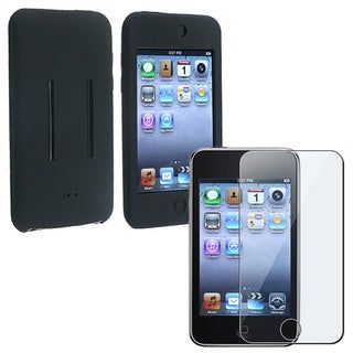INSTEN Screen Guard Black Soft Silicone iPod Case Cover for iPod Touch Gen2/ 3