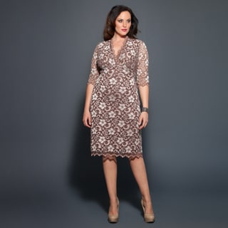 Kiyonna Women's Plus Size 3/4-sleeve Scalloped Boudoir Lace Dress