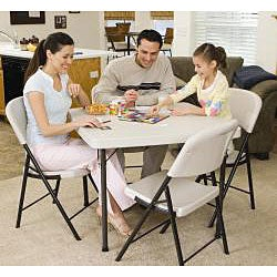 Lifetime 37-inch Square Almond Folding Card Table