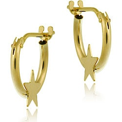 Mondevio 10k Gold Mini Star Hoop Earrings